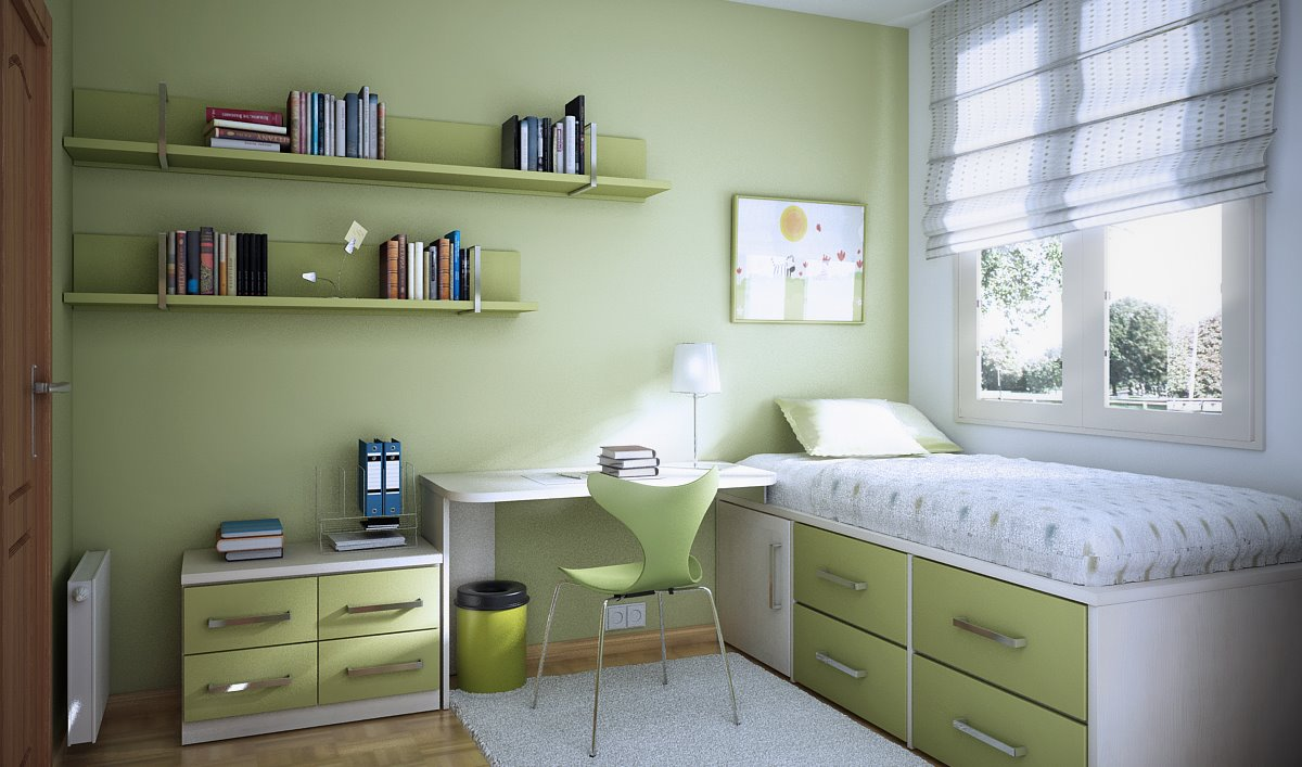 Light green bedroom colors - Black White Green Bedroom