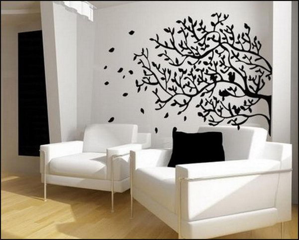 living room wall murals EVzS Design On Vine