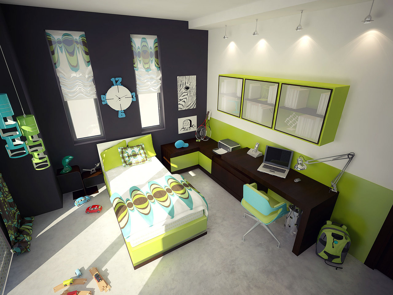 Bedroom Decorating Ideas Using Green Furniture Design On Vine
